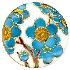 Button--Vintage Small Toshikane Arita Porcelain Blue Plumeria Tree Flowers