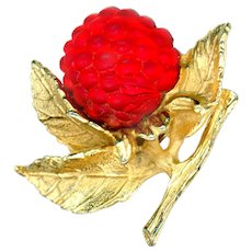 Brooch--Vintage 1960s Napier Frosted Red Glass Raspberry Fruit