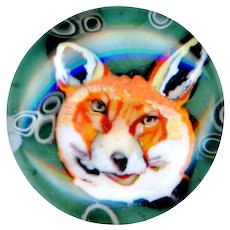 Button--Modern Vasa Murrhina Cased Glass Paperweight Fox