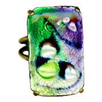 Ring--Vintage 1950s Green, Silver, and Purple Limoges Enamel on Copper in Brass