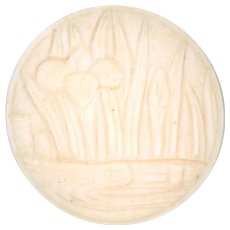 Button--Large Early 20th C. Japoniste Carved Bone Irises in Marsh