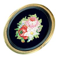 Brooch--Large Mid-19th C. Micromosaic Glass Floral in Gold-plated Brass