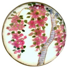 Button--Large Late 19th C. Japanese Satsuma Pottery Pink Wisteria Blossoms