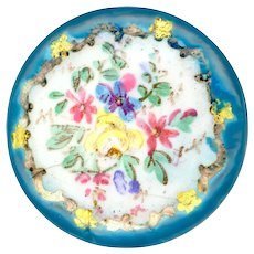 Button--Elegant Large 19th C. Hand Painted Enamel Flowers in Bleu Celeste As Is