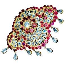 Brooch--Vintage Hobe Jewels of Legendary Splendor Vermeil Corsage Piece with Dangles
