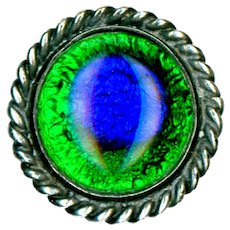 Button--Early 20th C. Peacock Eye Glass in Silver-plated Brass--Medium