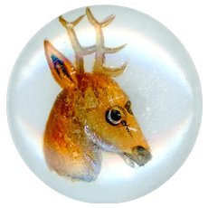 Button--Scarce Mid-19th C. Hand Enameled Stag on Clambroth Glass--Medium