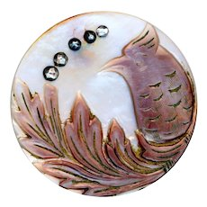 Button--Large Mid-19th C. Cameo Carved Pearl Stylized Bird with Cut Steels