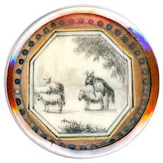 Button--Large 18th C. Georgian Animal Husbandry Scene Under Glass in Copper