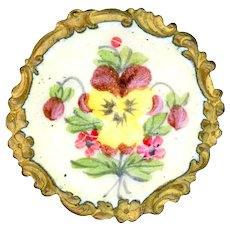 Button--Late 19th C. Rococo Brass Border Enamel Maroon Pansy on Palest Yellow Ground
