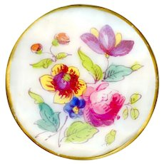 Button--Late 18th or Early 19th C. Soft Paste Porcelain Floral Hand Painted Mixtion
