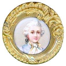 Button--Fine Late 19th C. Lithograph Mozart under Glass in Rococo Brass