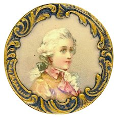 Button--Late 19th C. Lithograph of Mozart Under Celluloid in Rococo Brass