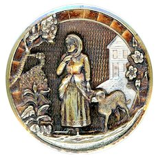 Button--Scarce Late 19th C. Mary Had a Little Lamb in Silver & Gold-tone
