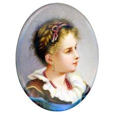 19th C. Hand Painted Portrait of Little Girl on Porcelain Plaque
