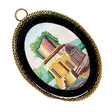 Plaque--Large Mid-19th C. Micromosaic Roman Ruin in Brass Frame