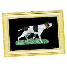 Vintage Pietra Dura Bird Dog Pointer Hound Dog in Frame