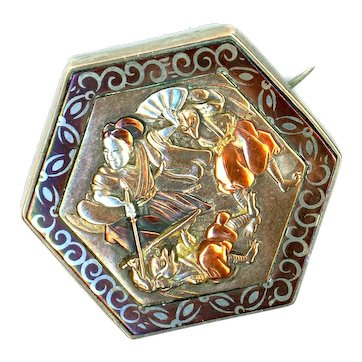 Brooch--Vintage Japanese Mixed Metal Hexagon--Contest of Samurai & Tengu