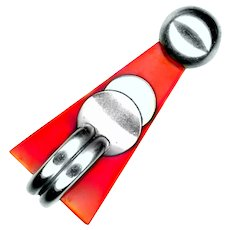 Dress Clip--German DRGM Art Deco Nickel Silver and Red Galalith