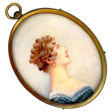 Fine 19th C. Miniature Portrait Under Glass in Gold Plated Brass--Lady in Blue with Lace