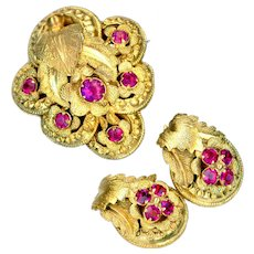 Brooch & Earrings--Early 19th C. Pinchbeck and Paste Rococo Foliate Design