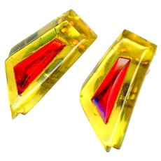 Dress Clips--Art Deco Era Applejuice Bakelite with Wild Red Glass Jewels