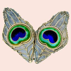 Buckle--Vintage Brass and Enamel Peacock Eye Feathers