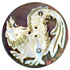 Button--Late 19th C. Compound Pearl Mythic Beast with Cut Steels
