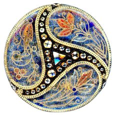 Button--Large Late 19th Lacy Glass Triple Blue and Red Paisley in Triskelion Design