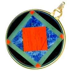 Pendant--Vintage Intarsia Agate, Lapis, Onyx, and Jade in Gold-fill