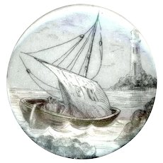 Button--Very Large 19th C. Monochrome Transfer on Porcelain Sailboat on Rocks