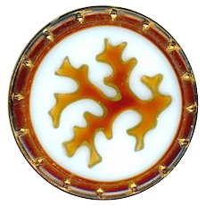 Button--Victorian Glass Coral Enameled on White Glass