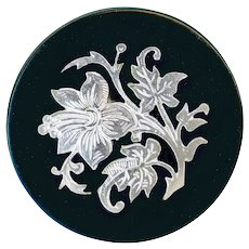 Button--19th C. Engraved Floral Silver Inlay Black Horn