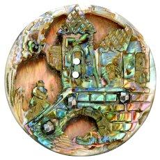 Button--Fine 19th C. Compound Pearl with Pierced Carved Scene--Medium