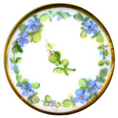 Button--Late 19th C. Hand Painted Porcelain with Forget-me-nots and Sprig