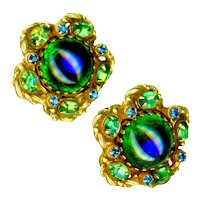 Earrings--Vintage 1960s Large Peacock Eye Glass Jewels