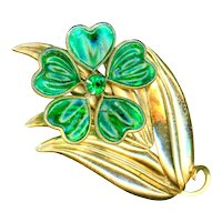 Brooch--Large Vintage 1940s Poured Glass Flower in Brass