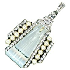 Pendant--Large Art Deco Era Sterling Silver, Cut Crystal, Rhinestones, and Faux Pearls