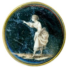 Button--Fine Sepia Georgian Painting Under Glass in Gold--As Is