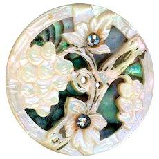 Button--19th C. Compound Pearl Ajoure Grape & Vine Overlay Abalone