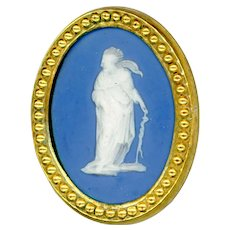 Button--Large 18th C. Georgian Wedgwood Jasper Ware Asclepius in Gilded Brass
