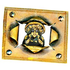 Button--Large 19th C. Open Work Rectangular Brass Kate Greenaway Girl