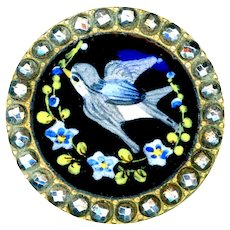 Button--19th C. Hand Painted Enamel Blue Bird in Forget-me-nots and Cut Steels