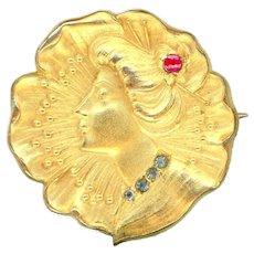 Brooch--Early 20th C. Art Nouveau Lady Watch Pin