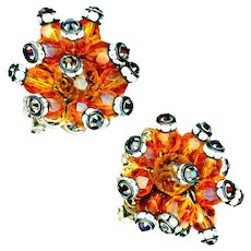 Earrings--Vintage 1960s Beaded Jeweled Anemone Clip-ons