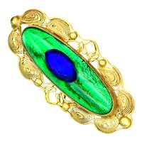 Brooch--Early 20th C. Peacock Eye Glass Lozenge in Gold-plated Brass Filigree