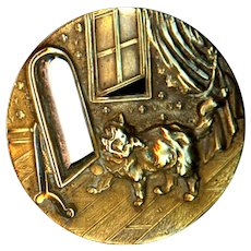 Button--Large Late 19th C. Brass and Steel Cat Scared of His Reflection