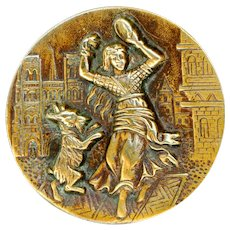 Button--Large Late 19th C. Engraved Brass Esmerelda and Dancing Goat