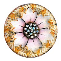 Button--Late 19th C. Medium Lacy Glass Floral Design with Unusual Border