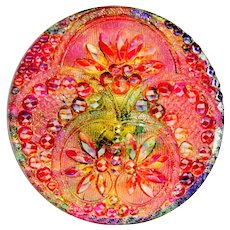 Button--Late 19th C. Medium Lacy Glass Red Pink with Purple